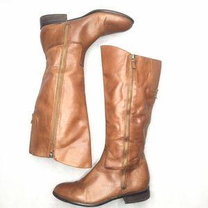 Franco Sarto Rocket Carmel Derby Tan Leather Boots
